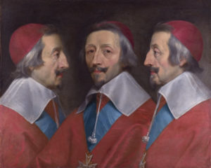 Triple Portrait of Cardinal de Richelieu, by Philippe de Champaigne (ca 1642) - National Gallery, Public Domain